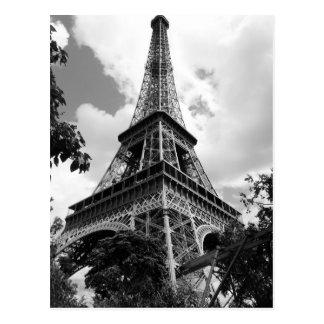 Torre Eiffel blanca negra en París Tarjetas Postales