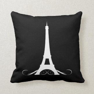 Torre Eiffel blanco y negro de París Cojin