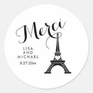 Torre Eiffel blanco y negro de París que casa Pegatina Redonda