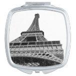 Torre Eiffel blanco y negro Espejo Para El Bolso