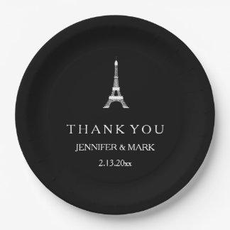 Torre Eiffel blanco y negro parisiense del boda Plato De Papel De 9 Pulgadas