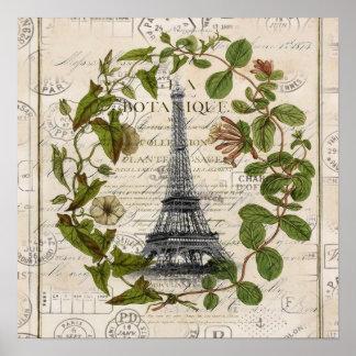 torre Eiffel botánica femenina de París del Póster