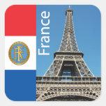 Torre Eiffel Calcomania Cuadrada Personalizada