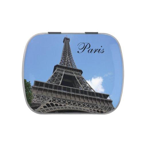 Torre Eiffel, cielo azul, París, Francia Latas De Dulces