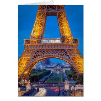 Torre Eiffel con Ecole Militaire más allá Tarjeta De Felicitación