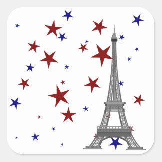 Torre Eiffel con las estrellas Pegatina Cuadrada