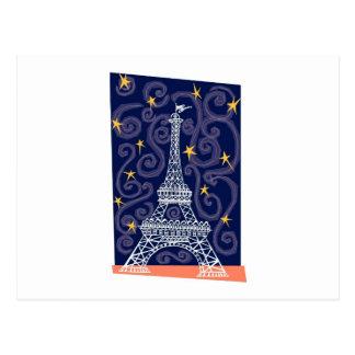 Torre Eiffel con las estrellas y los remolinos Postales
