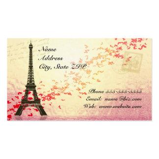 Torre Eiffel con los corazones flotantes Tarjetas De Visita