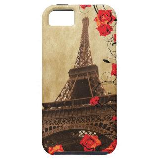 Torre Eiffel con los rosas rojos iPhone 5 Fundas