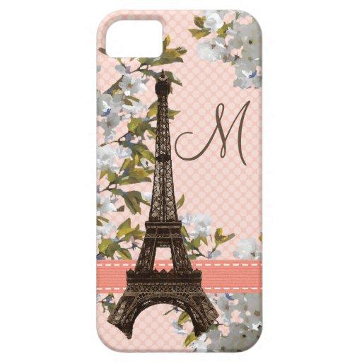 Torre Eiffel con monograma iPhone 5 Case-Mate Protectores
