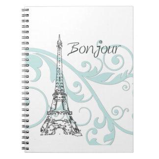 Torre Eiffel con remolinos verdes Spiral Notebooks