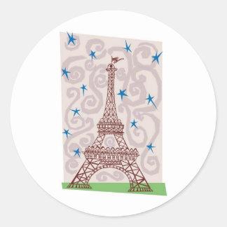 Torre Eiffel con remolinos y estrellas Pegatina Redonda