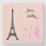 Torre Eiffel, corazones, lunares - rosa negro Posavasos De Piedra