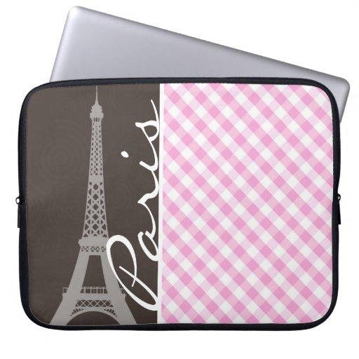 Torre Eiffel de Brown y tela escocesa rosada Mangas Portátiles