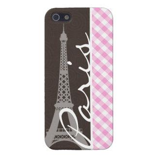 Torre Eiffel de Brown y tela escocesa rosada iPhone 5 Funda