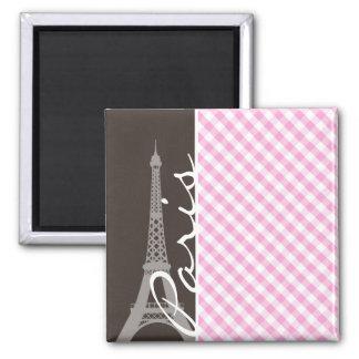 Torre Eiffel de Brown y tela escocesa rosada Iman De Frigorífico
