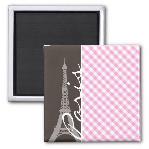 Torre Eiffel de Brown y tela escocesa rosada Imán Cuadrado