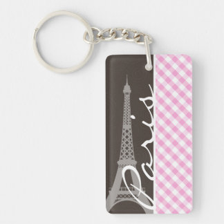 Torre Eiffel de Brown y tela escocesa rosada Llavero