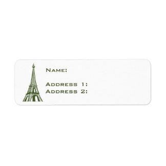 Torre Eiffel de Europa del viaje Etiqueta De Remite