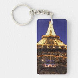 Torre Eiffel de FRANCIA, París, igualando la Llavero Rectangular Acrílico A Doble Cara