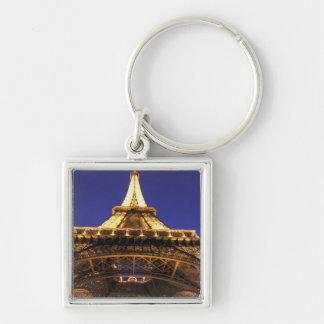 Torre Eiffel de FRANCIA, París, igualando la visió Llavero Cuadrado Plateado