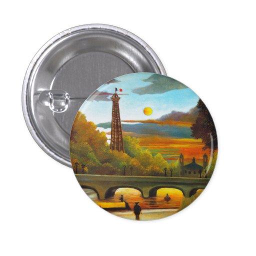 Torre Eiffel de Henri Rousseau en el botón de la p Pin