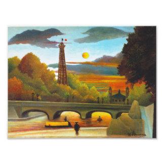 Torre Eiffel de Henri Rousseau en la impresión de  Cojinete