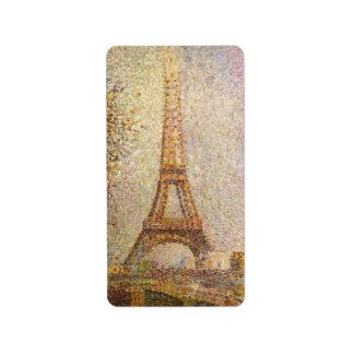 Torre Eiffel de Jorte Seurat, bella arte del Etiquetas De Dirección