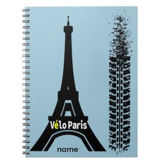 Torre Eiffel de la bici de Velo París Libro De Apuntes Con Espiral