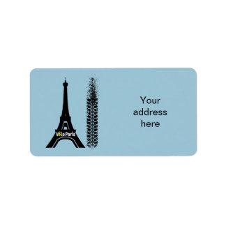 Torre Eiffel de la bici de Velo París Etiquetas De Dirección
