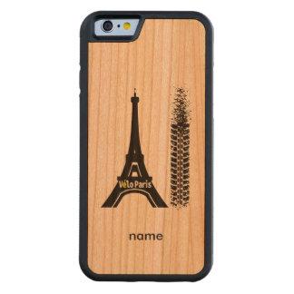 Torre Eiffel de la bici de Velo París Funda De iPhone 6 Bumper Cerezo