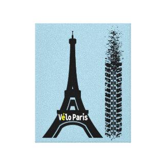 Torre Eiffel de la bici de Velo París Lona Envuelta Para Galerías