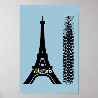 Torre Eiffel de la bici de Velo París Póster