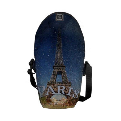 Torre Eiffel de la noche estrellada de París Bolsa De Mensajeria