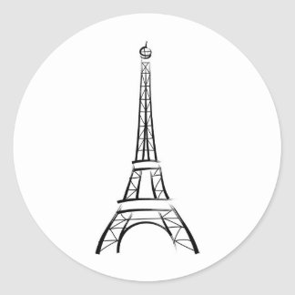 Torre Eiffel de la pincelada Pegatina Redonda