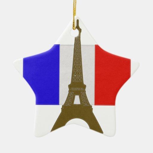 Torre Eiffel de la puntada Adorno Navideño De Cerámica En Forma De Estrella