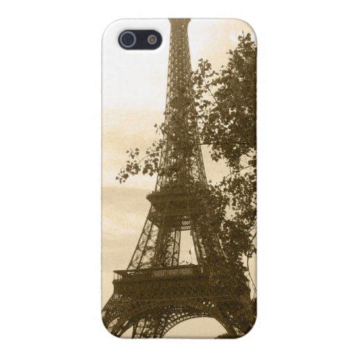 Torre Eiffel de la sepia iPhone 5 Fundas