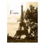 Torre Eiffel de la sepia--París Postales