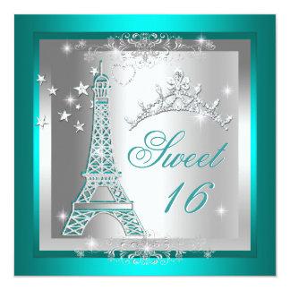 """Torre Eiffel de la tiara del trullo del dulce Invitación 5.25"""" X 5.25"""""""