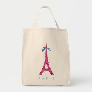 Torre Eiffel de las rosas fuertes en falso brillo Bolsa Tela Para La Compra