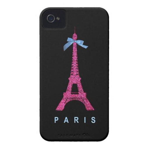 Torre Eiffel de las rosas fuertes en falso brillo Case-Mate iPhone 4 Cobertura