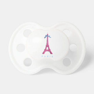 Torre Eiffel de las rosas fuertes en falso brillo Chupete De Bebé