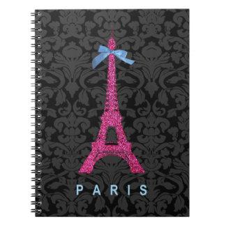 Torre Eiffel de las rosas fuertes en falso brillo Libros De Apuntes Con Espiral