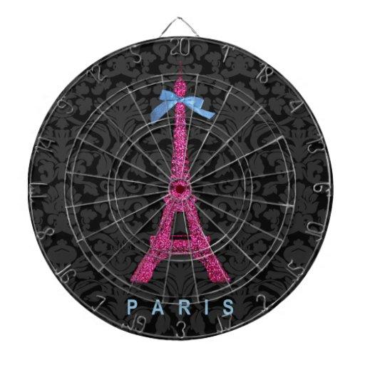 Torre Eiffel de las rosas fuertes en falso brillo Tabla Dardos