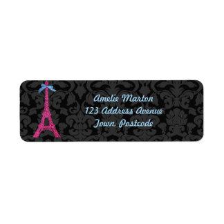 Torre Eiffel de las rosas fuertes en falso brillo Etiquetas De Remite