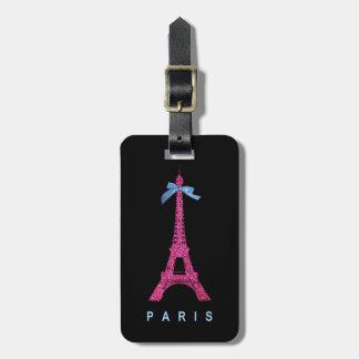 Torre Eiffel de las rosas fuertes en falso brillo Etiquetas Maleta