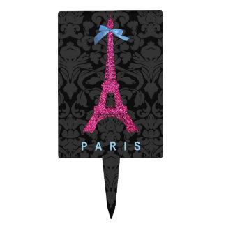 Torre Eiffel de las rosas fuertes en falso brillo Figura Para Tarta