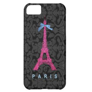 Torre Eiffel de las rosas fuertes en falso brillo Funda Para iPhone 5C