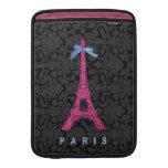 Torre Eiffel de las rosas fuertes en falso brillo Fundas Para Macbook Air