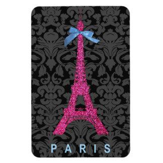 Torre Eiffel de las rosas fuertes en falso brillo Iman Rectangular